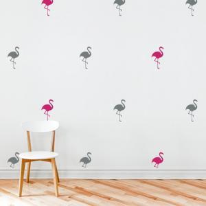 Nálepky na stenu Shapes - plameniaky 16ks AB060