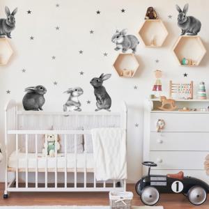 Nálepky na stenu - Sivé zajačiky do detskej izby