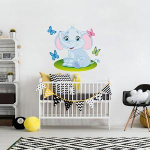 Nálepky na stenu - Slon a motýliky