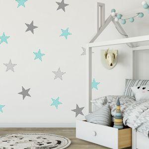 Nálepky na stenu- Tyrkysové hviezdy