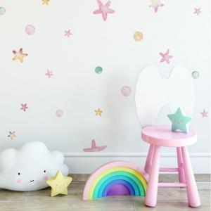 Nálepky na stenu Unicorn - stars + dots 76ks