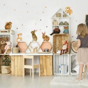 Nálepky na stenu - Zajačiky do detskej izby