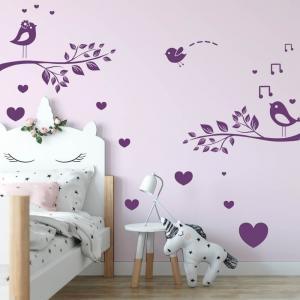 Nálepky na stenu - Zaľúbené vtáčiky