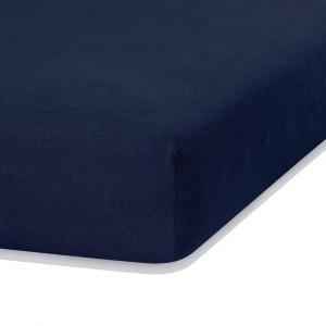 Námornícky modrá elastická plachta s vysokým podielom bavlny AmeliaHome Ruby, 200 x 120-140 cm
