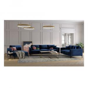 Námornícky modrá zamatová leňoška Kooko Home Harmony, ľavý roh