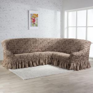 Napínacie poťahy s volánom FIORELA čokoládová rohová sedačka (š. 350 - 530 cm)