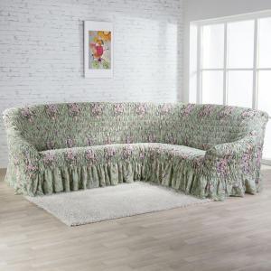 Napínacie poťahy s volánom FIORELA zelená rohová sedačka (š. 350 - 530 cm)