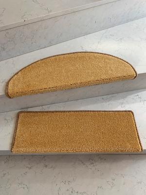 Vopi koberce Nášlapy na schody Eton Exklusive žlutý půlkruh - 24x65 půlkruh (rozměr včetně ohybu)