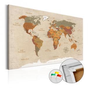 Nástenka s mapou sveta Bimago Beige Chic 90×60 cm