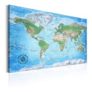 Nástenka s mapou sveta Bimago Traditional Cartography 90×60 cm