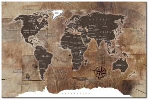 Nástenka s mapou sveta Bimago Wooden Mosaic 90 × 60 cm