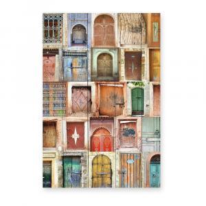 Nástenná ceduľa z borovicového dreva Really Nice Things Brown Doors, 40×60 cm