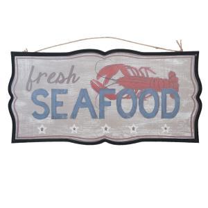 Nástenná drevená ceduľa Seafood - 51 * 2 * 25 cm