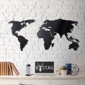 Nástenná kovová dekorácia Black Map, 60 × 120 cm