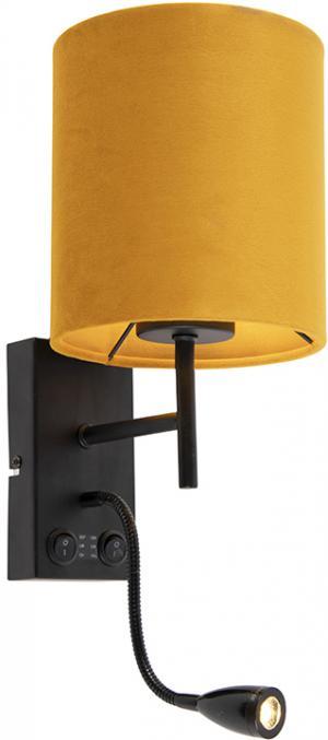 Nástenná lampa čierna so zamatovo žltým odtieňom - Stacca