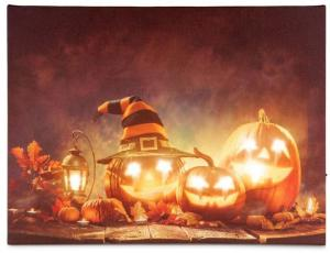 Nástenná maľba Happy Halloween - 8 LED, 30 x 40 cm