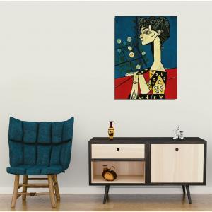 Nástenná reprodukcia na plátne Pablo Picasso Jacqueline with Flowers, 30 × 40 cm