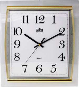 Nástenné hodiny MPM, 3174.8000 - zlatá/biela, 32cm