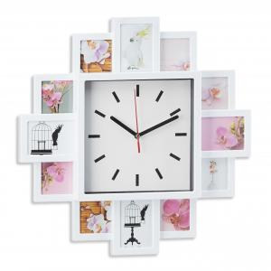 Nástenné hodiny s 12 fotorámikmi biele, rd1961 39cm