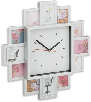 Nástenné hodiny s 12 fotorámikmi strieborné, rd1961 39cm