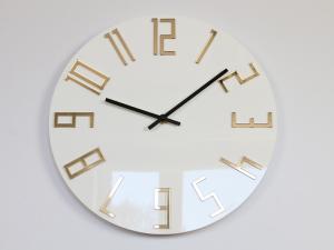 Nástenné hodiny Slim Gold biele
