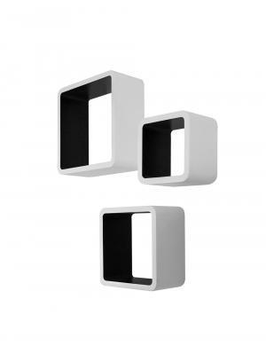 Nástenné police Kvadrat, súprava 3 ks, biela/čierna