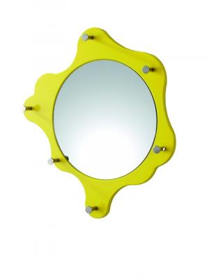 Nástenné zrkadlo s háčikmi Itab, 56 cm, žltá