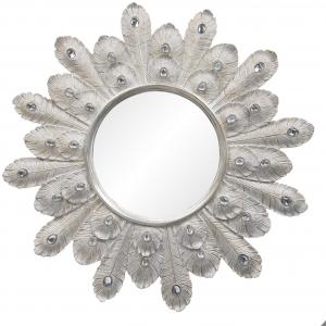 Nástenné zrkadlo s rámom v dizajne pávích pier - Ø 54 * 2 cm