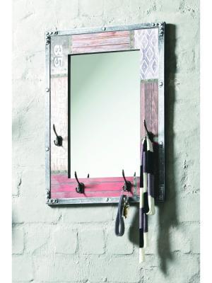 Nástenné zrkadlo so 4 háčikmi Bron, 75 cm