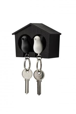 Nástenný držiak s kľúčenkami Qualy Duo Sparrow, hnedá búdka/ bči