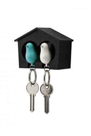 Nástenný držiak s kľúčenkami Qualy Duo Sparrow, hnedá búdka/ bm