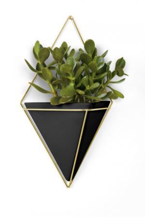 Nástěnný květináč Umbra TRIGG, velký - černý/zlatý