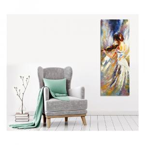 Nástenný obraz na plátne Violin Player, 30 × 80 cm