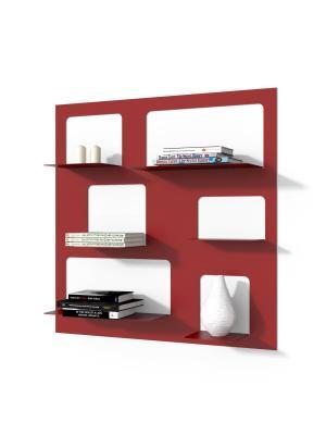 Nástenný regál / knižnica Libri 3, 90 cm, červená