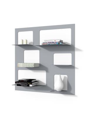 Nástenný regál / knižnica Libri 3, 90 cm, sivá