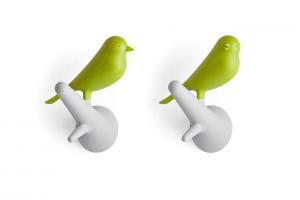Nástenný vešiak Qualy Hook Sparrow, 2ks, biely-zelený