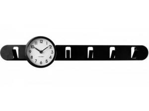 Nástenný vešiak s hodinami Balvi Clock In čierny