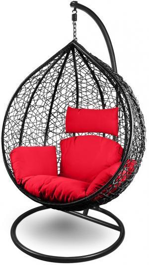 NAVAS SANTA CRUZ XL závesné hojdacie kreslo (čierne, červený vankúš)