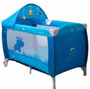 NE Cestovná postieľka pre deti Samba Lux Modrá - výpredaj