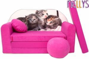NELLYS Rozkladacia detská pohovka 35R - Mačičky v ružovej