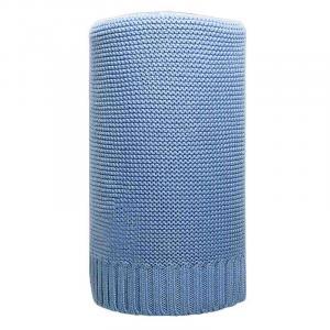 NEW BABY - Bambusová pletená deka 100x80 cm modrá