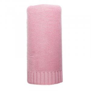 NEW BABY - Bambusová pletená deka 100x80 cm ružová