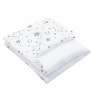 NEW BABY - Detská deka s výplňou Vafle biela hviezdičky 80x102 cm