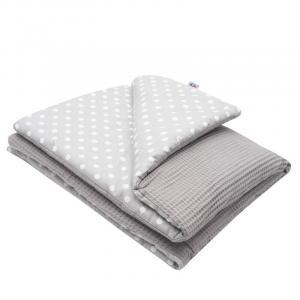 NEW BABY - Detská deka s výplňou Vafle sivá biele bodky 80x102 cm