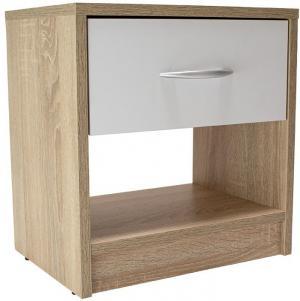 Noční stolek NAKA bílý/dub sonoma