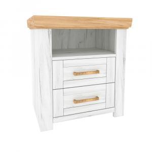 Nočný stolík X, dub craft zlatý/dub craft biely, SUDBURY