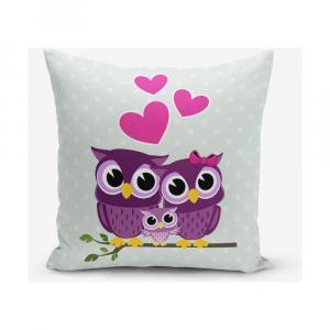 Obliečka na vaknúš s prímesou bavlny Minimalist Cushion Covers Hearts Owls, 45 × 45 cm