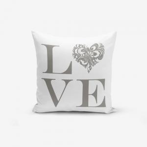Obliečka na vaknúš s prímesou bavlny Minimalist Cushion Covers Love Grey, 45 × 45 cm
