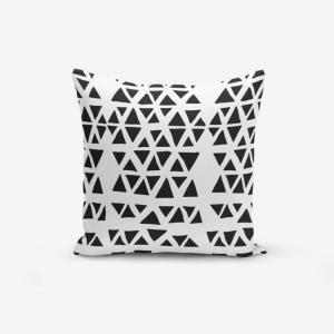 Obliečka na vankúš s prímesou bavlny Minimalist Cushion Covers Black Triangle Modern, 45×45 cm