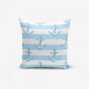 Obliečka na vankúš s prímesou bavlny Minimalist Cushion Covers Blue White See Concept, 45×45 cm